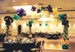 Mardi Gras balloon themed dance floor