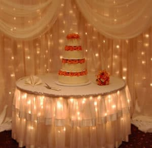 peach roses crystal backdrop cake table white skirt wedding quinceanera