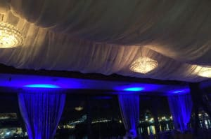 Sheer white ceiling draping blue lights wedding quinceanera