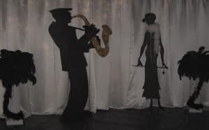 1920's decor feathers flapper jazz man corporate event theme party